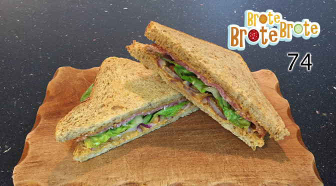 Erdnussbutter-Salami-Sandwich