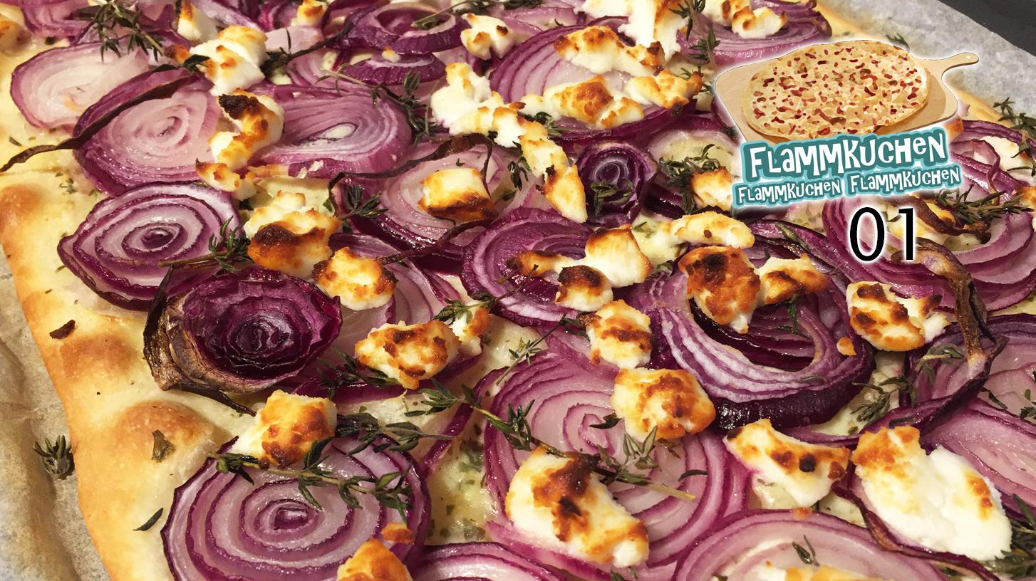 Zwiebel-Flammkuchen mit Ziegenkäse – Flammkuchen-Special 01