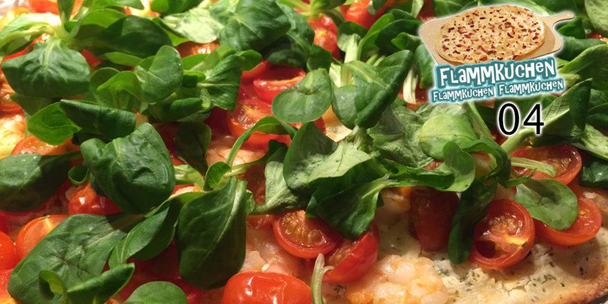 Garnelen-Tomaten-Flammkuchen